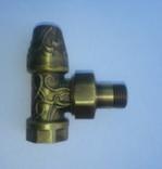 Вентиль Art Deco запорный угловой 1/2, c американкой (бронза)